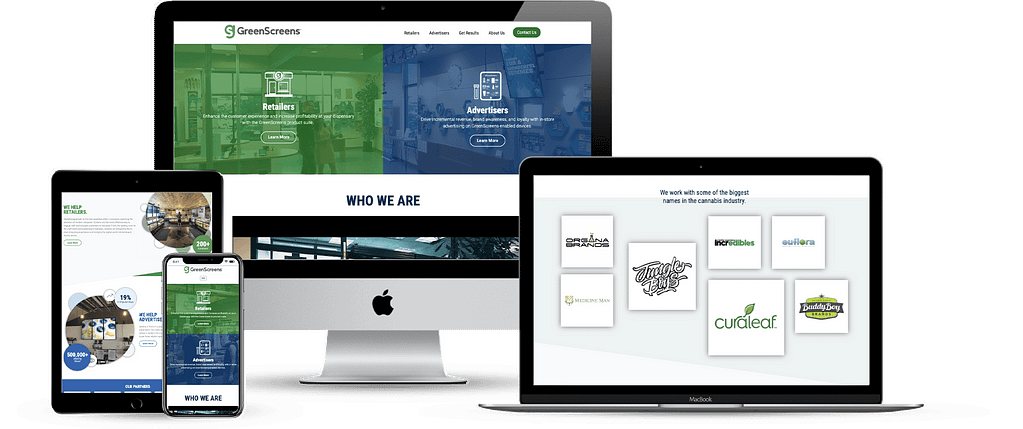 greenscreens dispensary marketing website development