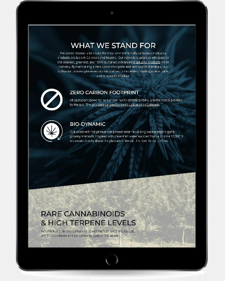 responsive marijuana web design pot zero colorado