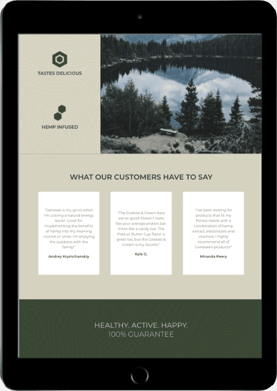 genesee nutrition cbd website development tablet
