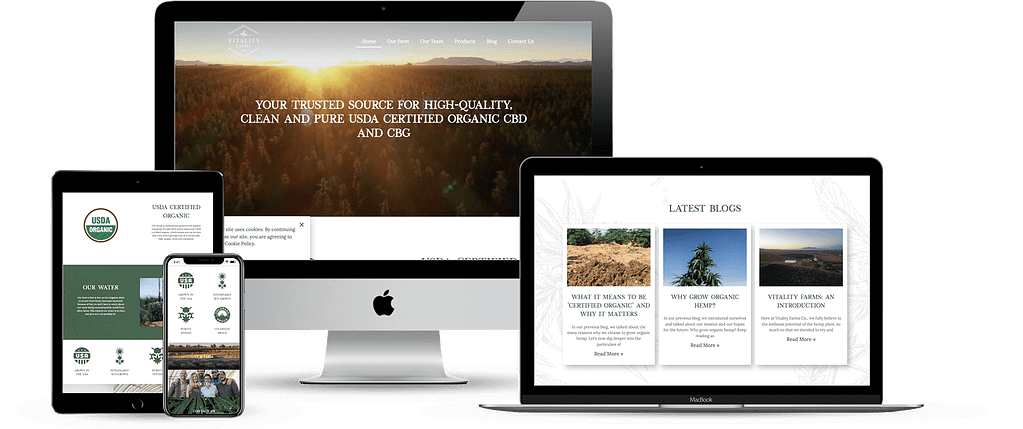 vitality farms hemp wordpress website development